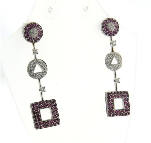 18k Gold Pink Sapphire Diamond Earrings - 2