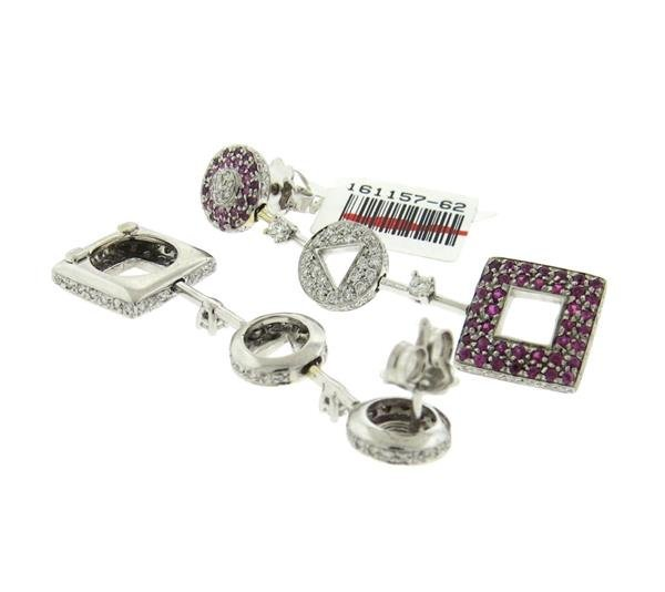 18k Gold Pink Sapphire Diamond Earrings - 3