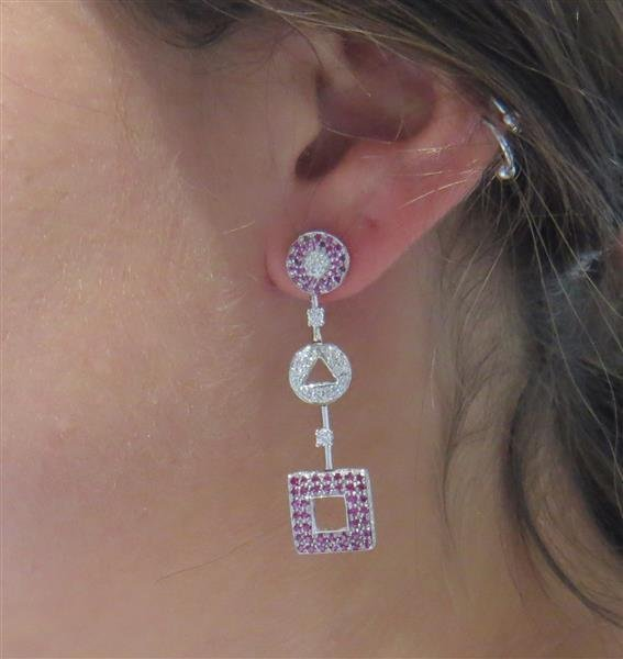 18k Gold Pink Sapphire Diamond Earrings - 4