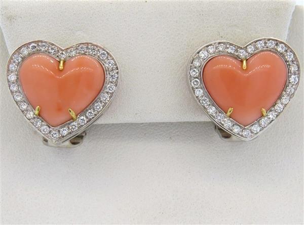 18k Gold Coral Diamond  Heart Earrings