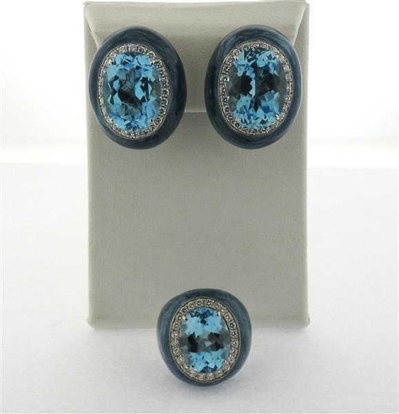 Impressive 18k Gold Diamond Topaz Enamel Earrings Ring