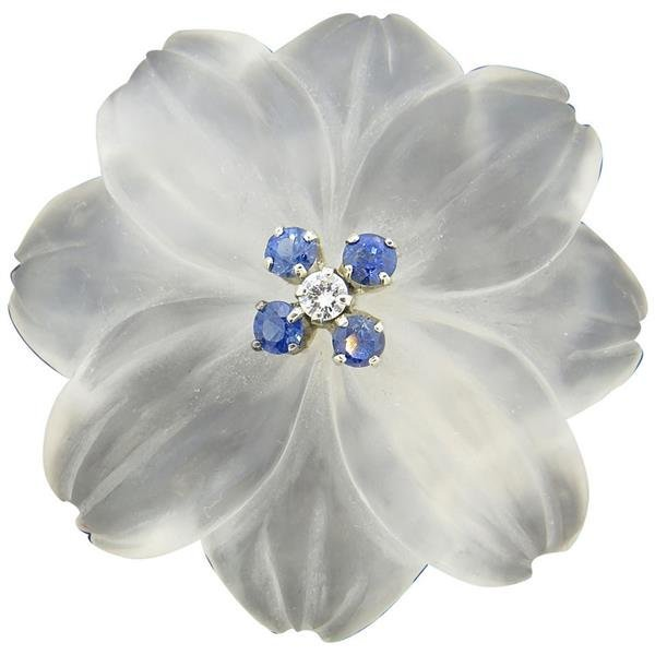 1950s Frosted Crystal Sapphire Diamond 18k Gold Flower