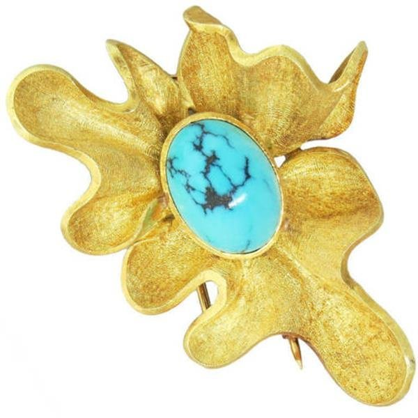 Modernist 18K Gold Turquoise  Brooch Pin