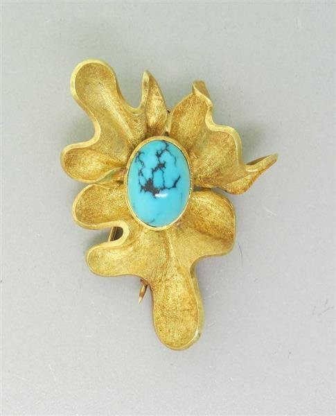 Modernist 18K Gold Turquoise  Brooch Pin - 2