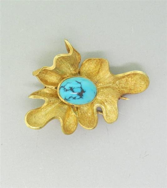 Modernist 18K Gold Turquoise  Brooch Pin - 3