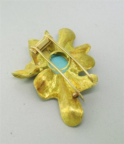 Modernist 18K Gold Turquoise  Brooch Pin - 4