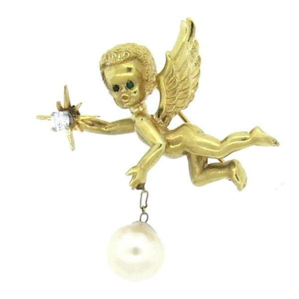 14k Gold Pearl Emerald Diamond Cherub Brooch Pin