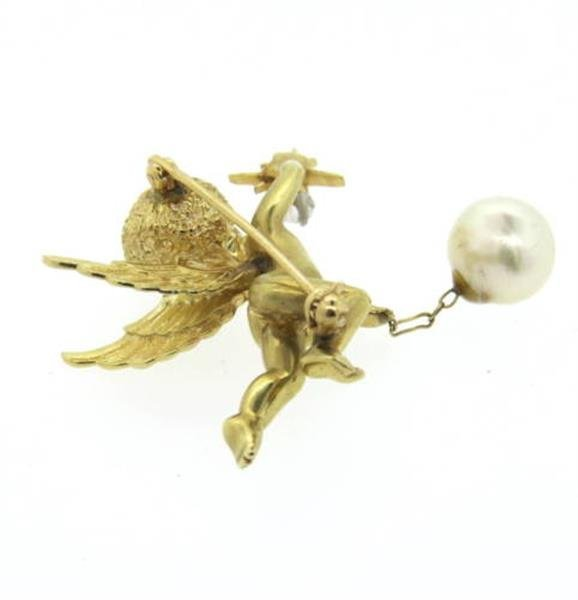 14k Gold Pearl Emerald Diamond Cherub Brooch Pin - 2