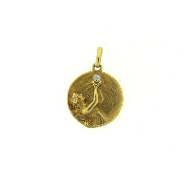 Art Nouveau 18k Gold Diamond Nymph Pendant