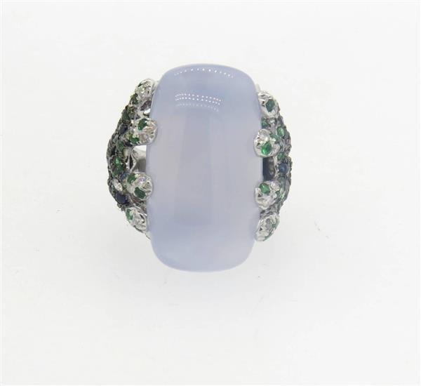 18k Gold  Chalcedony Tsavorite Diamond Sapphire