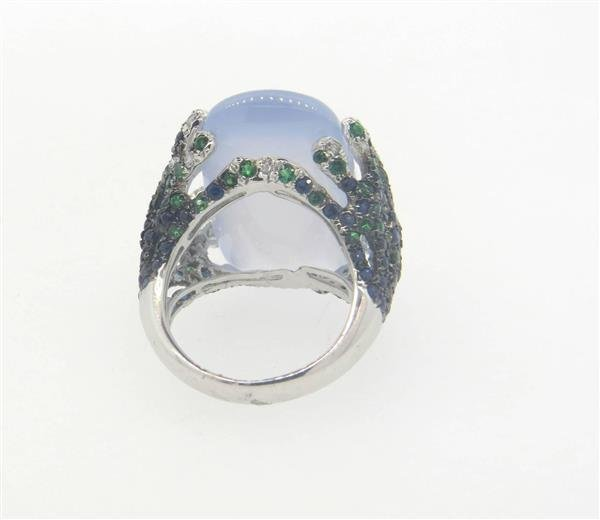 18k Gold  Chalcedony Tsavorite Diamond Sapphire - 2
