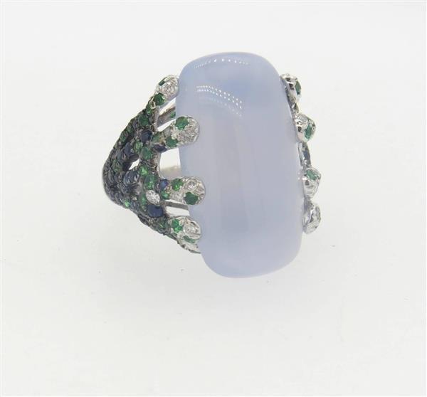 18k Gold  Chalcedony Tsavorite Diamond Sapphire - 3