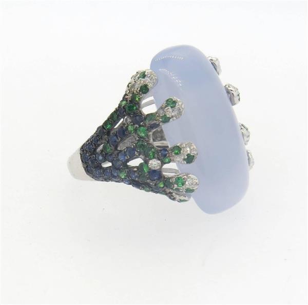 18k Gold  Chalcedony Tsavorite Diamond Sapphire - 4
