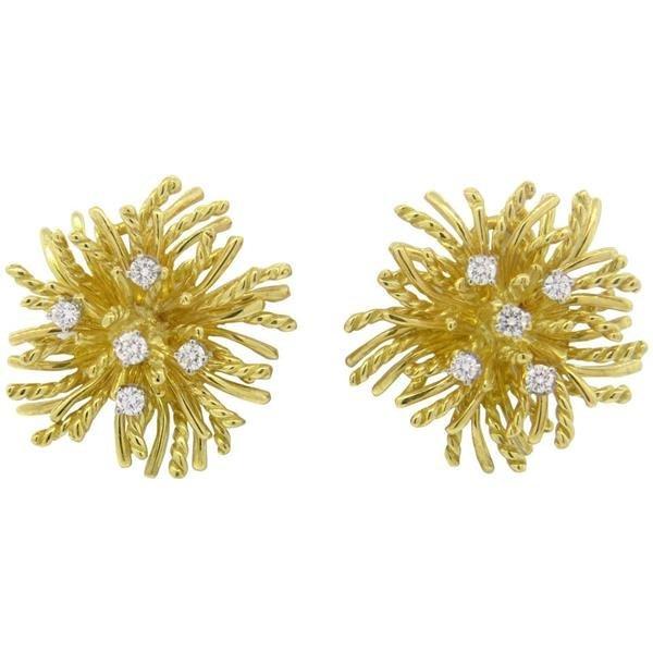 18k Gold Diamond Anemone Earrings