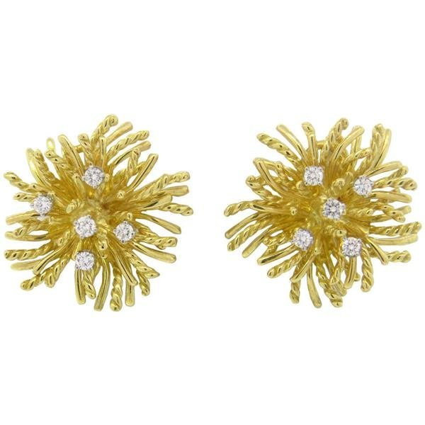 18k Gold Diamond Anemone Earrings