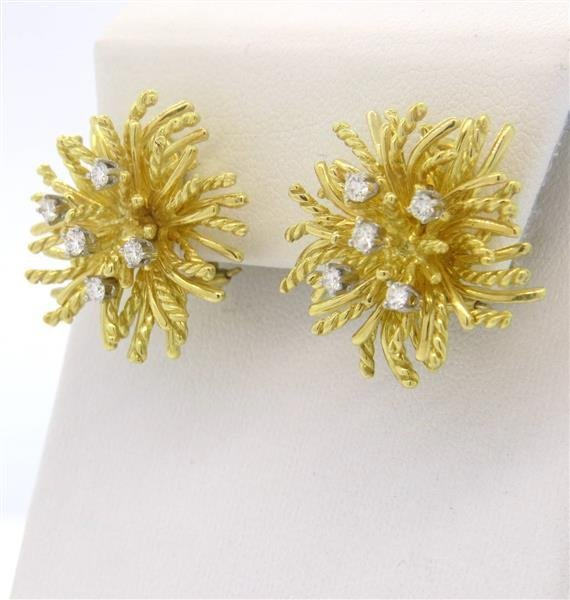 18k Gold Diamond Anemone Earrings - 2