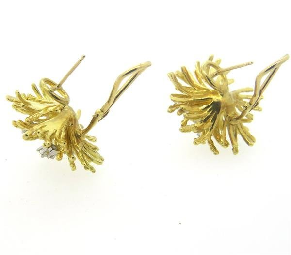 18k Gold Diamond Anemone Earrings - 4