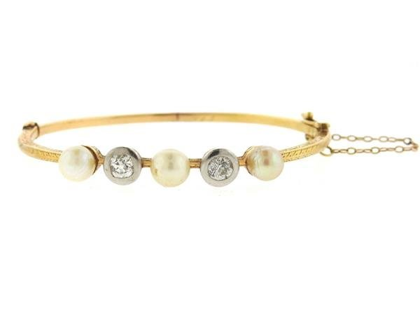 Antique Victorian 18K Gold Diamond Pearl Bangle