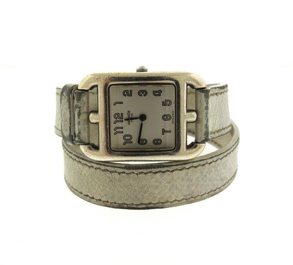 Hermes Cape Cod Stainless Steel Leather Strap Lady'