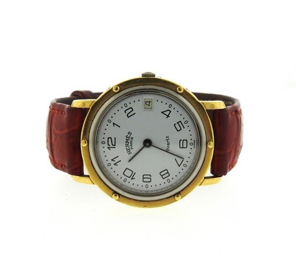 Hermes 18K Gold Stainless Steel Leather Strap Watch