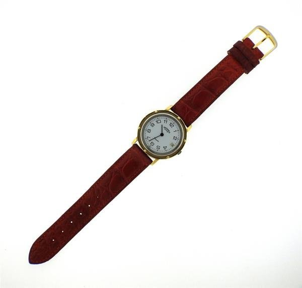 Hermes 18K Gold Stainless Steel Leather Strap Watch - 2