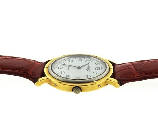 Hermes 18K Gold Stainless Steel Leather Strap Watch - 3