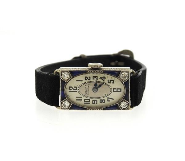 Gruen Precision 18k Gold Diamond Sapphire Watch