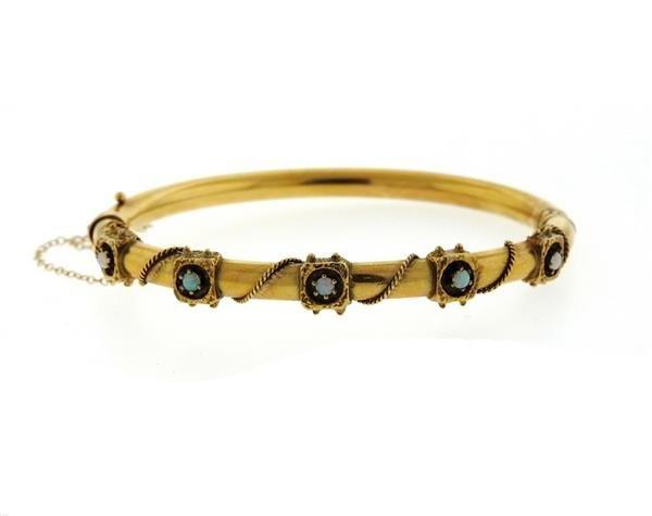 Antique 14K Gold Opal Bangle Bracelet