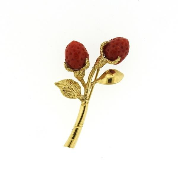 18K Gold Coral Strawberry Brooch Pin
