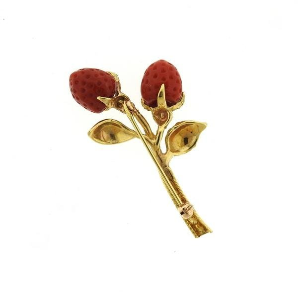 18K Gold Coral Strawberry Brooch Pin - 2