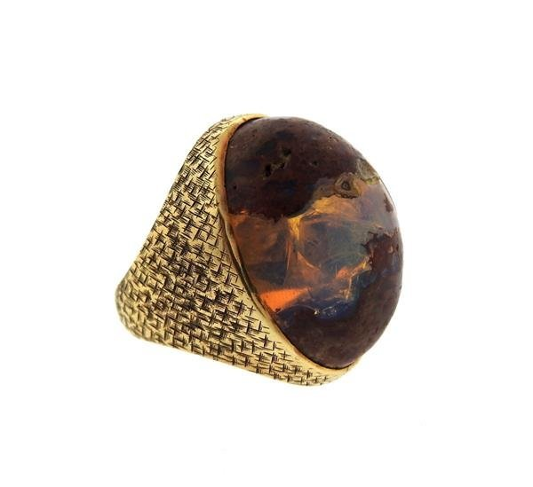 14K Gold Boulder Opal Stone Cocktail Dome Ring