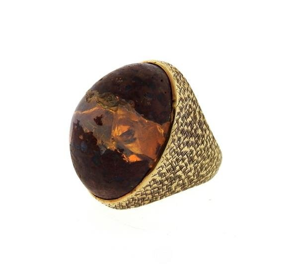 14K Gold Boulder Opal Stone Cocktail Dome Ring - 3