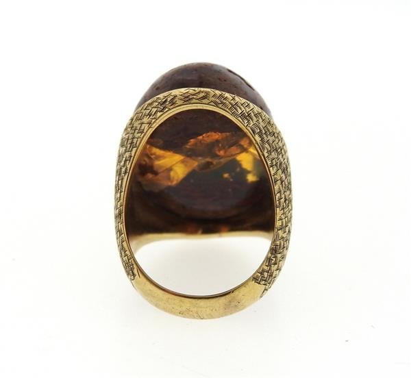14K Gold Boulder Opal Stone Cocktail Dome Ring - 4
