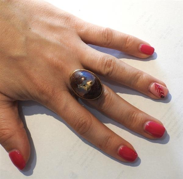 14K Gold Boulder Opal Stone Cocktail Dome Ring - 5