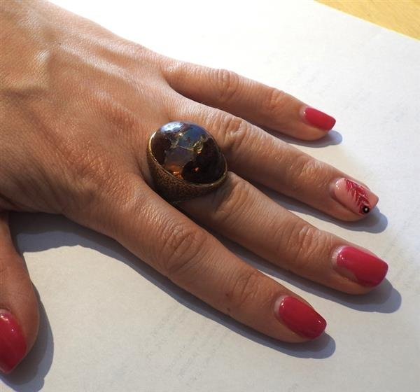14K Gold Boulder Opal Stone Cocktail Dome Ring - 6