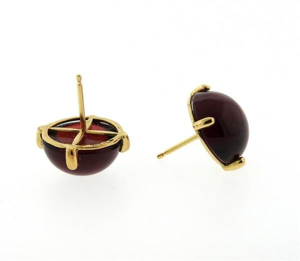 French 18k Gold Red Stone Round Stud Earrings - 2