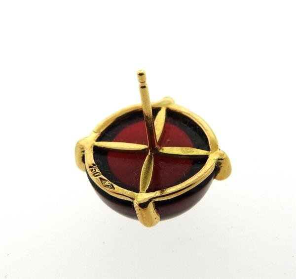 French 18k Gold Red Stone Round Stud Earrings - 3