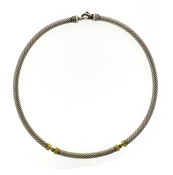 David Yurman 14K Gold Sterling Silver Cable Collar