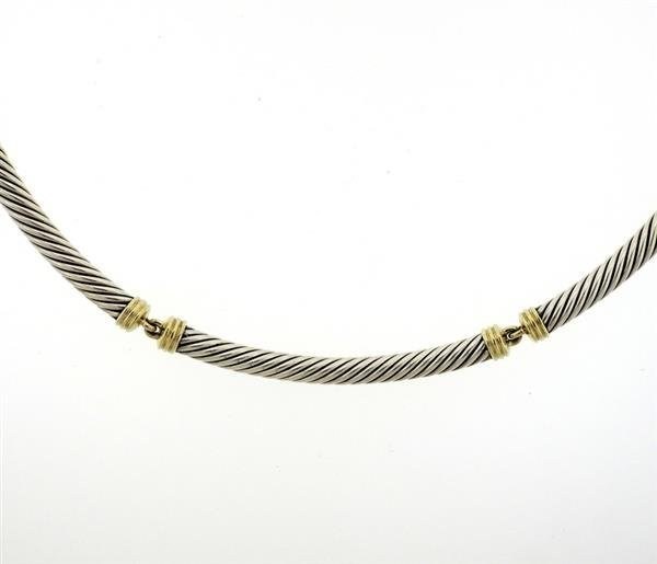 David Yurman 14K Gold Sterling Silver Cable Collar - 2