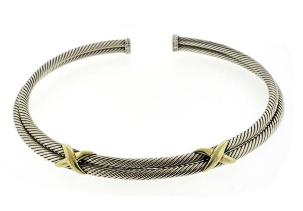 David Yurman 14k Gold Sterling Silver Double X Cable