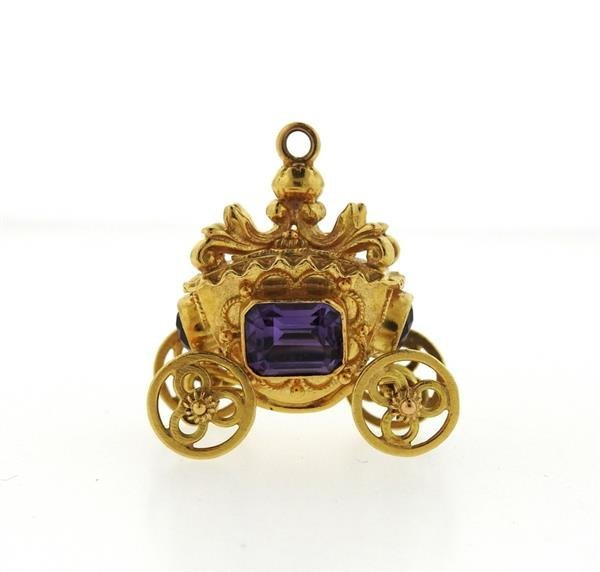 Etruscan 18K Gold Amethyst Carriage Charm Pendant