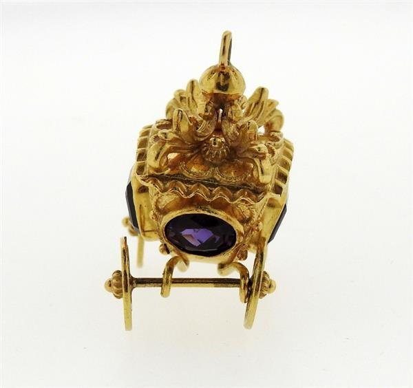 Etruscan 18K Gold Amethyst Carriage Charm Pendant - 2