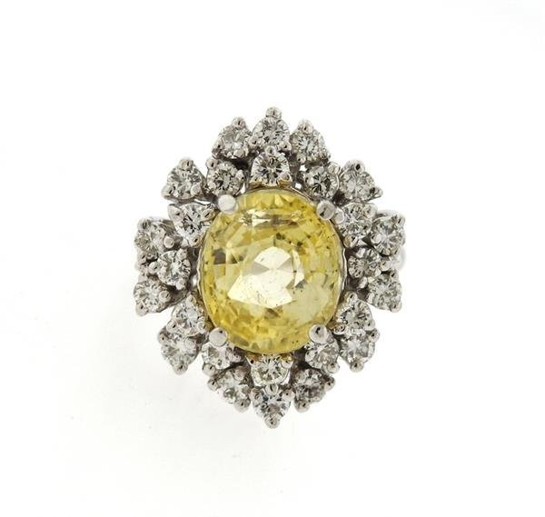 14K Gold Yellow Sapphire Diamond Cocktail Ring