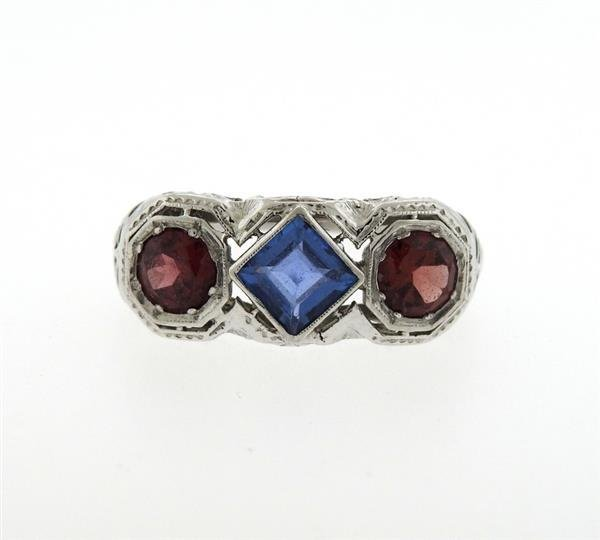 Art Deco 18K Gold Red Blue Stone Ring