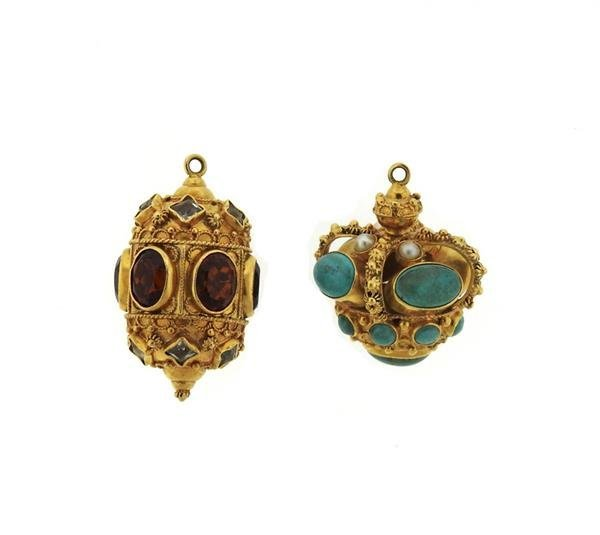 Etruscan 18k Gold Multi Gemstone Pendant Lot of 2