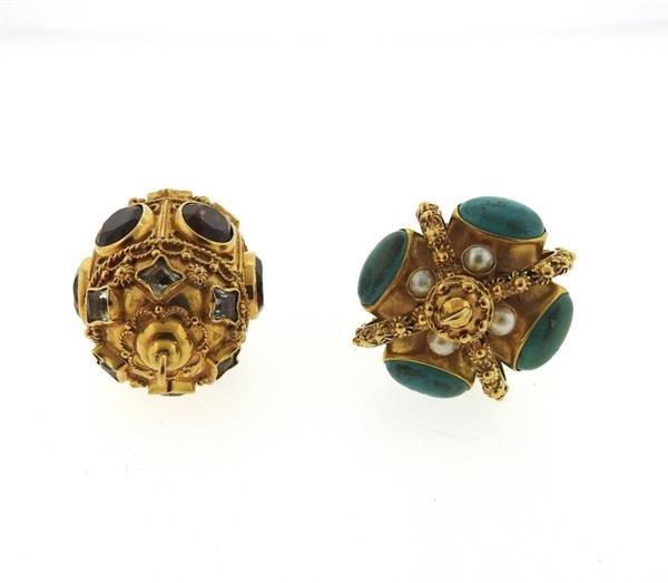 Etruscan 18k Gold Multi Gemstone Pendant Lot of 2 - 4