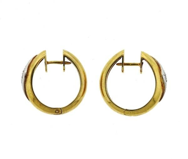 14K Gold Diamond Hoop Earrings - 2