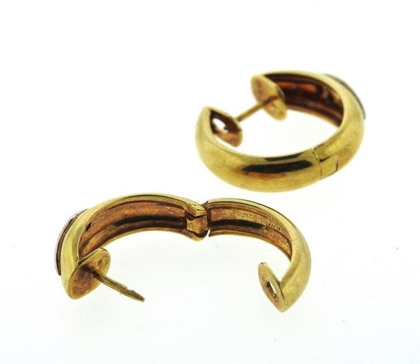 14K Gold Diamond Hoop Earrings - 3