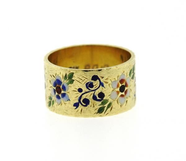 Antique 14K Gold Enamel Wide Band Ring