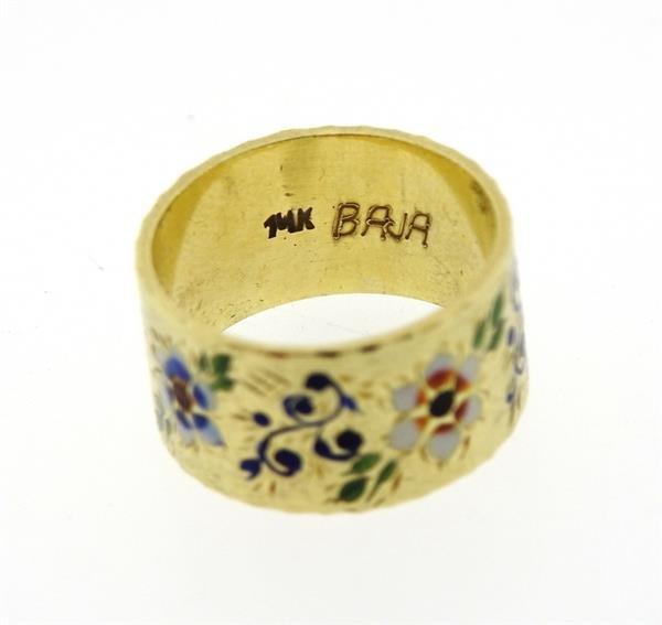 Antique 14K Gold Enamel Wide Band Ring - 2